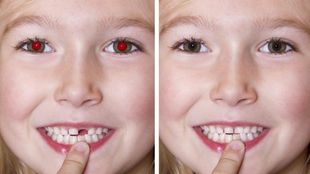 Убрать красные глаза